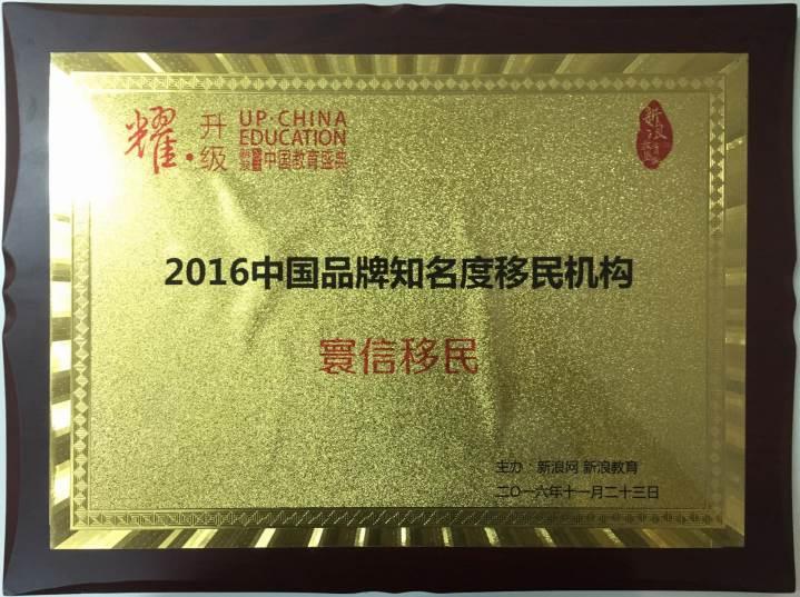 2016中国品牌知名度移民机构